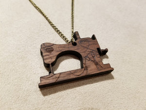 Sewing Machine Wooden Walnut Necklace- Fabric Crush Exclusive