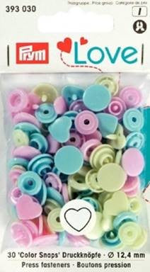 Prym Non-Sew Colour Snaps, Mixed Colours: Pastel Blue, Pastel Pink, & Pastel Green, HEART, 12.4mm, 30 Sets