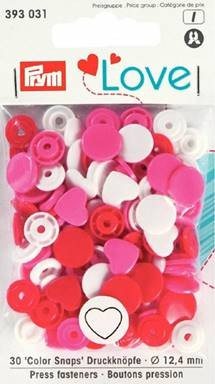 Prym Non-Sew Colour Snaps, Mixed Colours: Red, White, & Pink, HEART, 12.4mm, 30 sets