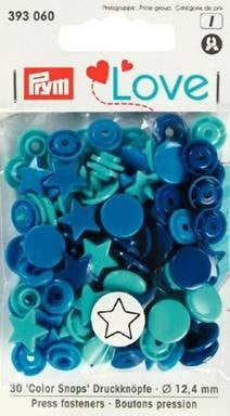 Prym Non-Sew Colour Snaps, Mixed Colours: Turquoise, Navy Blue, Blue, STAR, 12.4mm, 30 sets