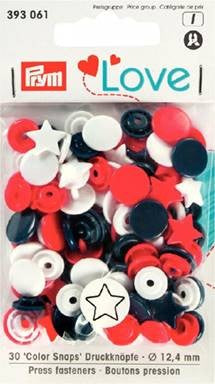 Prym Non-Sew Colour Snaps, Mixed Colours: Red, White, & Navy, STAR, 12.4mm, 30 sets