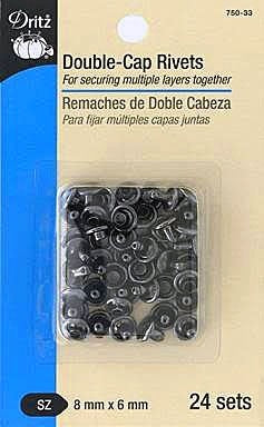 Double-Cap Rivets, Size 8mm x 6 mm, Gunmetal, 24 sets