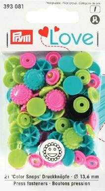 Prym Non-Sew Colour Snaps, Mixed Colours: Turquoise, Apple Green, & Pink, SMILING FLOWER, 13.6mm, 21 sets