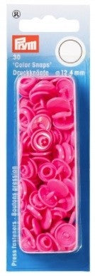 Prym Non-Sew Colour Snaps - Round - 12.4mm, 30 Sets - Pink
