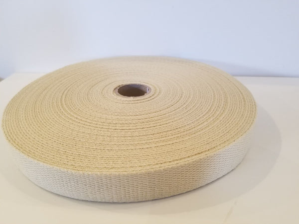 Beige Cotton Webbing - 25mm Remaining Roll Price