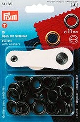 Prym- Eyelets With Washers, 11mm, Black Oxidized