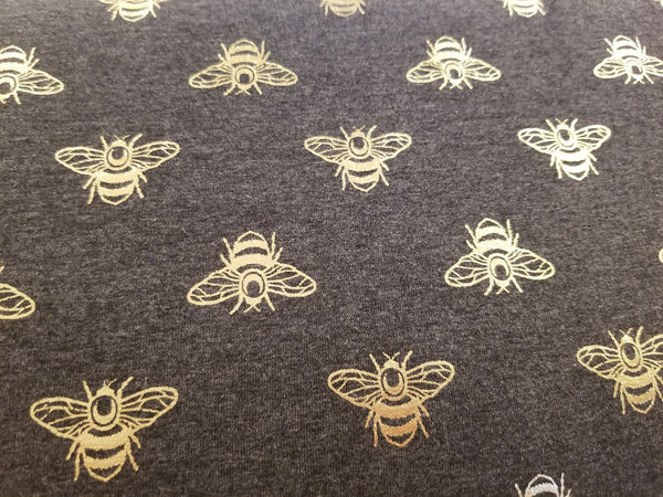 Jersey Knit - Gold Foiled Bees - Charcoal - 1/2M