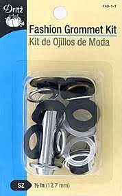 "Fashion Grommets Kit 1/2"" Black With Tool"