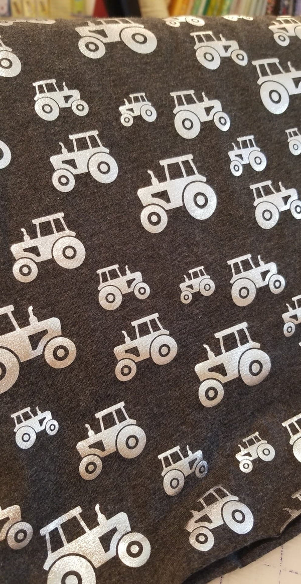 Jersey Knit - Foiled Tractors - Charcoal - 1/2M