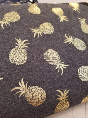 Jersey Knit - Gold Foiled Pineapples - Charcoal - 1/2M