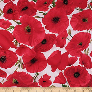 Cotton / Spandex Woven Sateen - Red Poppies on White - 1/2M