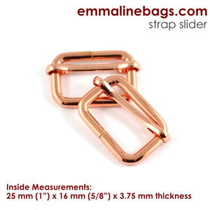 "Adjustable Sliders - Rose Gold/ Copper 1"" (25mm)"