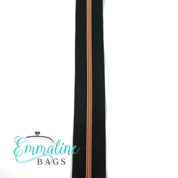 Emmaline - 3 Yards of #5 Nylon Zipper - Black Tape/ Rose Gold (Copper)