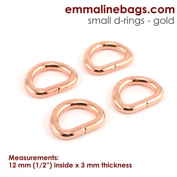 "D Rings- 1/2"" (12mm) Rose Gold/ Copper"