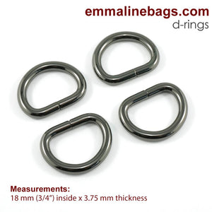 "D Rings- 3/4"" (18mm) Gunmetal"