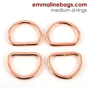 "D Rings- 1"" (25mm) Rose Gold/ Copper"