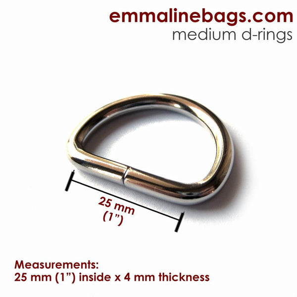 "D Rings- 1"" (25mm) Nickel"