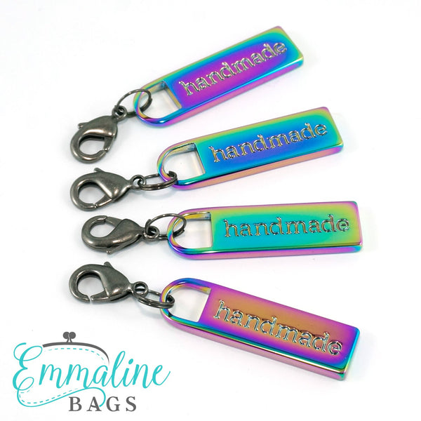 "Zipper Pulls: ""handmade"" in Iridescent Rainbow Finish"