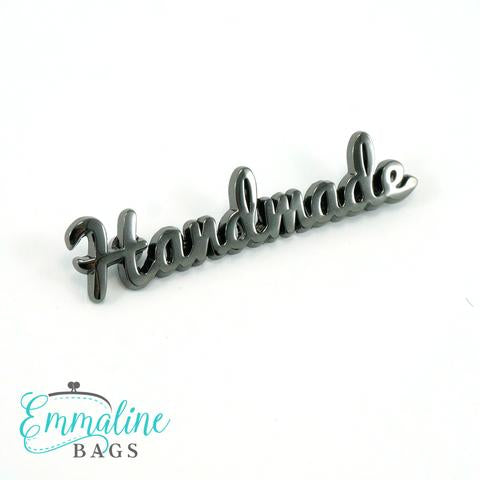 "Metal Bag Label: ""handmade"" in Gunmetal Finish"