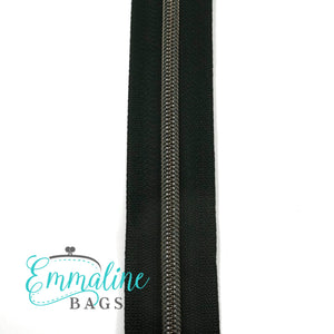 Emmaline - 3 Yards of #5 Nylon Zipper - Black Tape/ Gunmetal