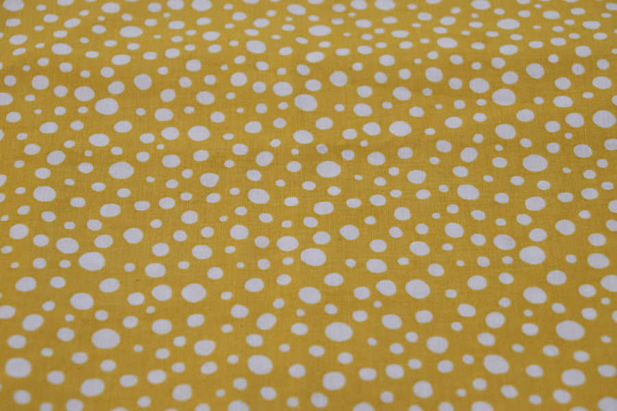 Cotton - Yellow and White Dots