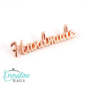 "Metal Bag Label: ""handmade"" in Copper Finish"
