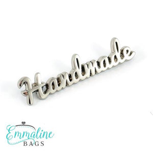 "Metal Bag Label: ""handmade"" in Nickel Finish"