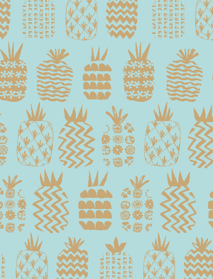 Pineapples Teal Metallic - 1/4M