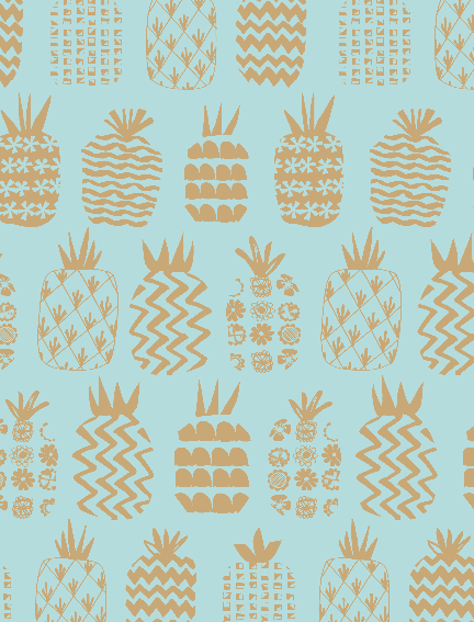1/4M Pineapples Teal Metallic