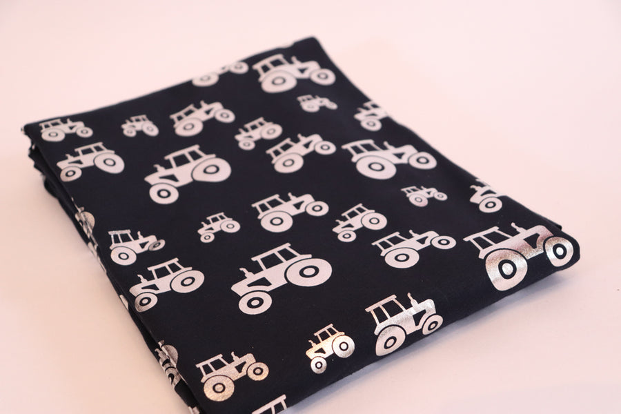 Jersey Knit - Foiled Tractors - Navy - 1/2M