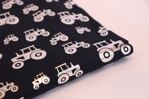 Jersey Knit - Foiled Tractors - Navy