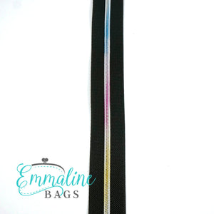 Emmaline - 3 Yards of #5 Nylon Zipper - Black Tape/ Rainbow Coil