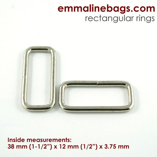 "Rectangular Rings - Nickle Finish 1 1/2"" (38mm)"