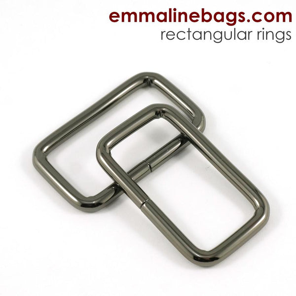 "Rectangular Rings - Gunmetal 1 1/2"" (38mm)"