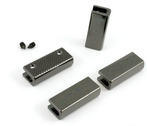 "Rectangle Strap End Caps (1"" wide) 4 pack -  Gunmetal"