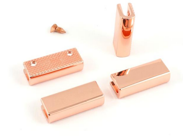 "Rectangle Strap End Caps (1"" wide) 4 pack -  Copper"