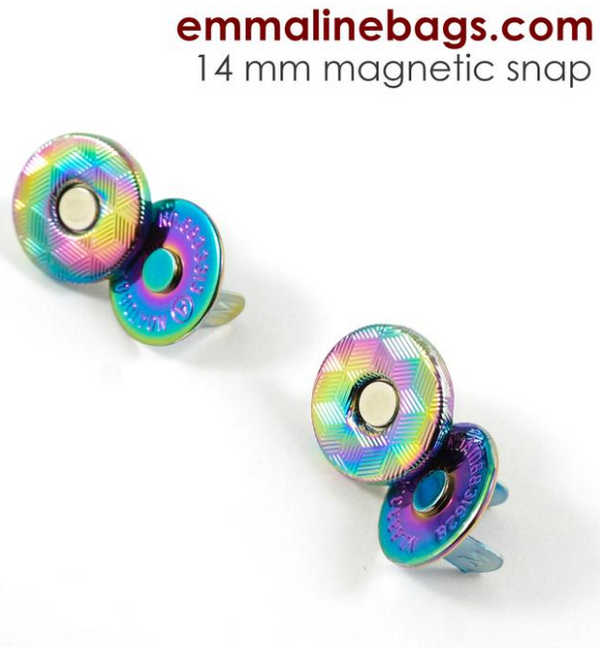 Magnetic Snap Closures: (14 mm) Iridescent Rainbow Finish pack of 2