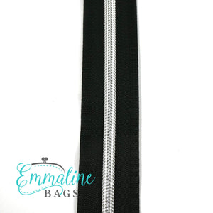 Emmaline - 3 Yards of #5 Nylon Zipper - Black Tape/ Silver