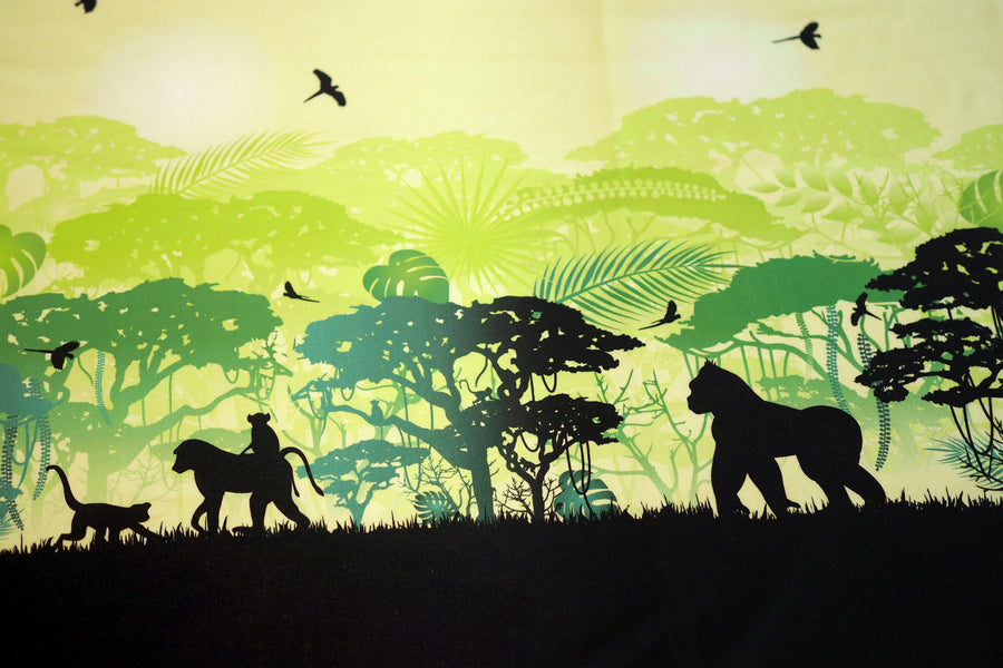 Jersey Panels - Wild Shadows Monkeys - Green