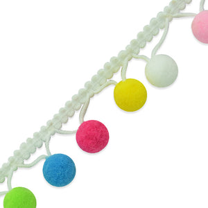 Pom Pom White Rainbow Trim 5/8""