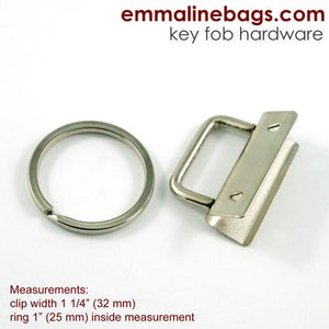 Key Fobs with Ring  - 5 Pack 1 1/4 Nickel Finish
