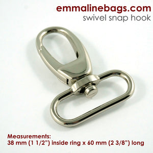 "Swivel Hooks- 1 1/2"" (38mm) Nickel"