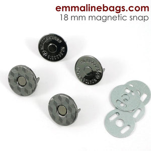 Magnetic Snap Closures: (18 mm) Gunmetal Finish pack of 2