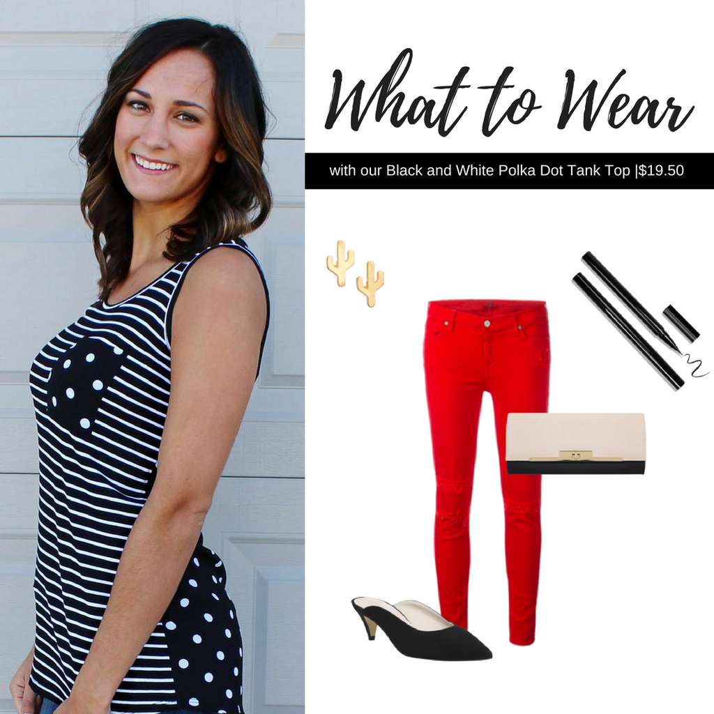 What to Wear with Our Black and White Polka Dot Top