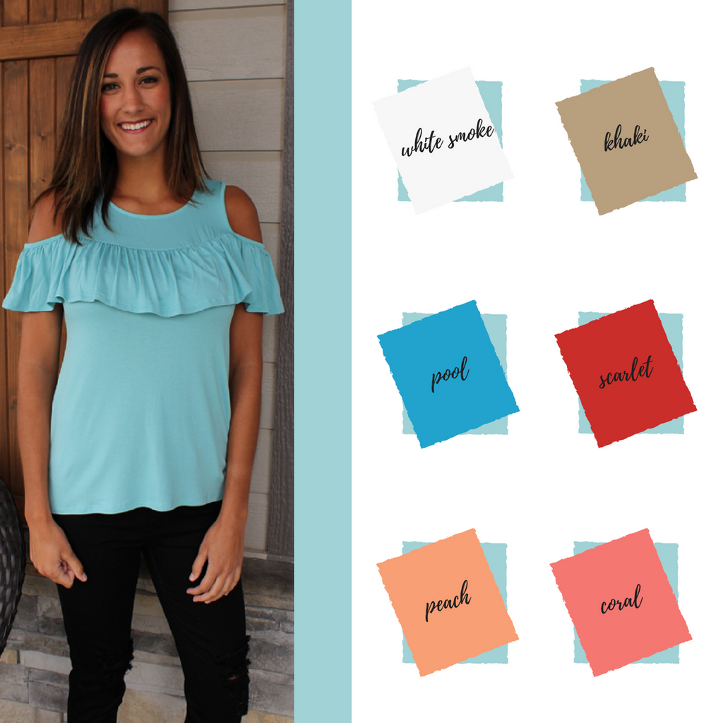 What to Pair With Sweet P's Light Blue Cold Shoulder Ruffle Top