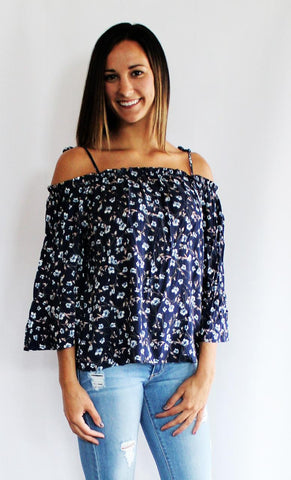 Blue Floral Off-the-Shoulder Top