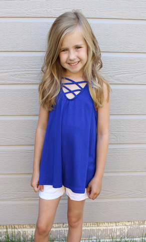 Royal Blue Flowy Criss Cross Tank Top
