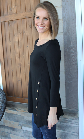 Long Sleeve Boat Neck Tunic with Button Bottom Detail