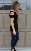 Medium Weight Short Sleeve Black Top with Criss Cross Shoulder Detail