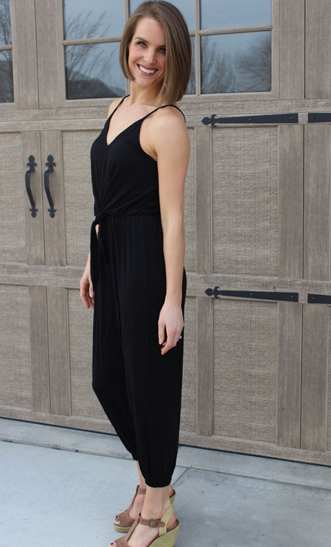 Black Tank Jumpsuit with Tie Waist